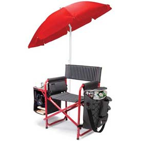 "Picnic Time Fusion Chair 807-00-600-000-0, 33""W X 24""D X 18.5""H, Dark Gray with Red"