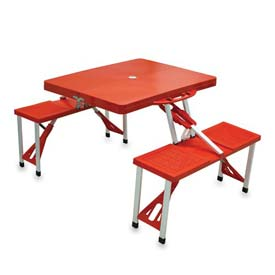 Picnic Time Portable Folding Picnic Table with Seats, Red