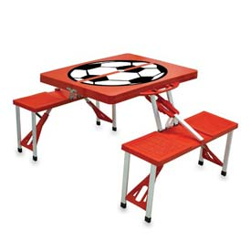 Picnic Time Soccer Portable Folding Picnic Table with Seats, Red