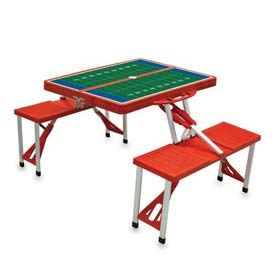 Picnic Time Football Field Portable Folding Picnic Table with Seats, Red