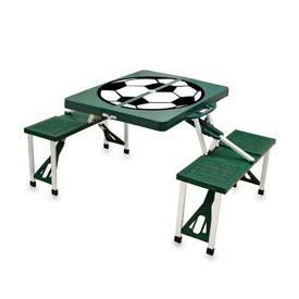 Picnic Time Soccer Portable Folding Picnic Table with Seats, Hunter Green