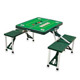 Picnic Time Poker Portable Folding Picnic Table with Seats, Hunter Green
