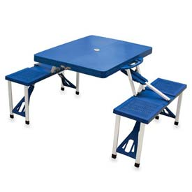 Picnic Time Portable Folding Picnic Table with Seats, Blue