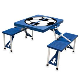 Picnic Time Soccer Portable Folding Picnic Table with Seats, Blue