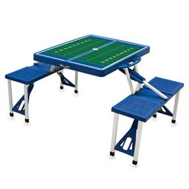 Picnic Time Football Field Portable Folding Picnic Table with Seats, Blue