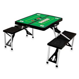 Picnic Time Poker Portable Folding Picnic Table with Seats, Black