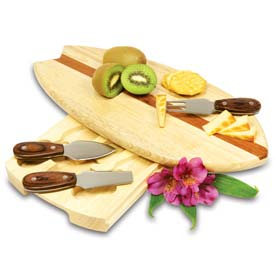 Picnic Time Surfboard Cutting Board with Cheese Tools