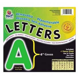 """Pacon® 4"""" Self-Adhesive Letters, Green, 78 Characters/Pack"""