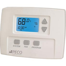 PECO Programmable Fan Coil Thermostat With 3-Speed Control, 24-277VAC, FC Stat