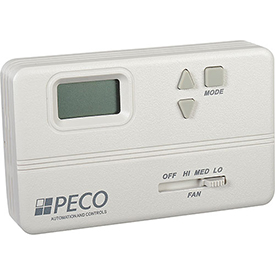 PECO Fan Coil Thermostat With On-Off Switch, 3-Speed Control and Wire Leads