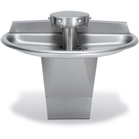 Bradley SN2023 Sentry 3 Person Semi-Circular Bowl Washfountain W/Central Vent & Metering Air Valve