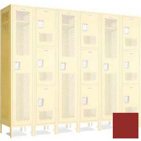 "Penco 602106V+-722 Invincible II Group End For 4 Tier Lockers, Perf, 16 Ga, 21""D X 60""H, Patriot Red"