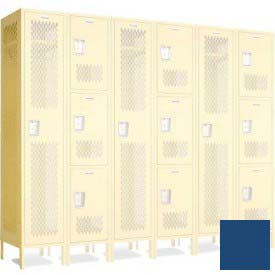 "Penco 602112V**-052 Invincible II Group End For 3 Tier Lockers, Perf, 16 Ga, 15""D X 72""H Reflex Blue"