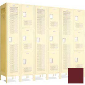 """Penco 602118V++-736 Invincible II Group End For 5 Tier Lockers, Perf, 16 Ga, 24""""D X 72""""H, Burgundy"""