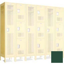 "Penco 603700V-812 Invincible II Perforated Group End For 1 Tier Lockers 18""D X 48-1/2""H Hunter Green"