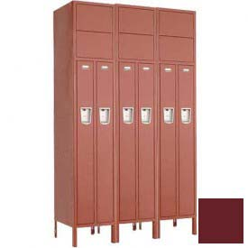 "Penco 6503M-3W-KD-736 Guardian Medallion Locker 2 Person 3 Wide, 15""W x 18""D x 72""H, Burgundy"