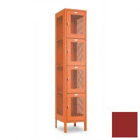 "Penco 6A311-722 Invincible II Locker, 4 Tier Basic Unit, 12""W X 18""D X 15""H, Patriot Red"