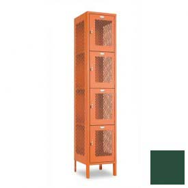 "Penco 6A321-812 Invincible II Locker, 4 Tier Basic Unit, 12""W X 15""D X 18""H, Hunter Green"