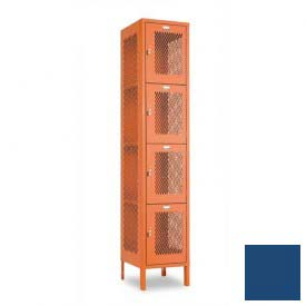 "Penco 6A335-052 Invincible II Locker, 4 Tier Basic Unit, 15""W X 18""D X 18""H, Reflex Blue"