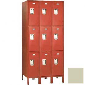"Penco 6E411-3W-KD-073 Guardian Defiant II Locker Triple Tier 3 Wide, 12""W x 18""D x 20""H, Champagne"
