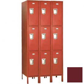 "Penco 6E421-3W-KD-736 Guardian Defiant II Locker Triple Tier 3 Wide, 12""W x 15""D x 24""H, Burgundy"