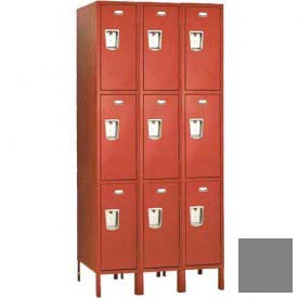 "Penco 6E449-3W-KD-028 Guardian Defiant II Locker Triple Tier 3 Wide, 12""W x 21""D x 20""H, Gray"