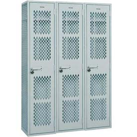 "Penco 6WA129-3W-028 Angle Iron Locker, Single Point Latch, 1 Tier, 3 Wide, 15""W x 15""D x 72H"", Gray"