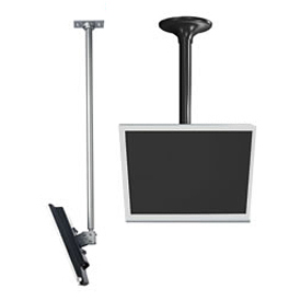 "LCD Ceiling Mount w/ Cable Management, 18"" To 30"" Adjustable Height - Silver"