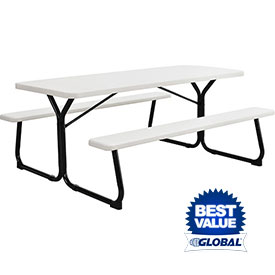 Picnic Tables Benches At Global Industrial - Recycled plastic hexagonal picnic table