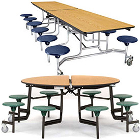 National Public Seating® Rectangular Cafeteria Tables with Stools & MDF Top