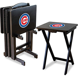 TV Snack Tray Tables with Storage Rack - MLB Logos