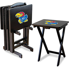 TV Snack Tray Tables with Storage Rack - NCAA Logos