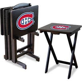 TV Snack Tray Tables with Storage Rack - NHL Logos