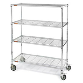 Square Post Wire Shelf Trucks w/Smart Casters
