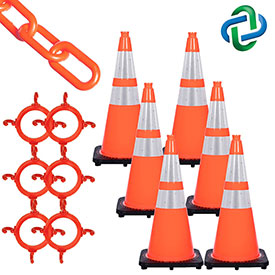 Mr. Chain Traffic Cone & Chain Kit with Reflective Collars, Traffic Orange, 93280-6 by