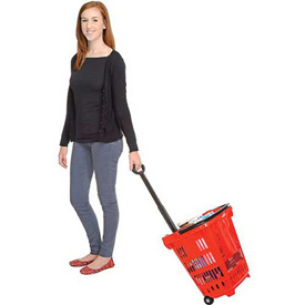 Rolling Plastic Trolley Shopping Baskets