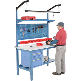 Complete Workbench With drawers, shelves & Pegboard Panel - Blue