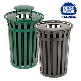 Global Industrial™ Outdoor Metal Slatted Waste Receptacles