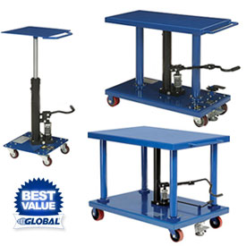 Foot Operated Work Positioning Mobile Post Lift Tables