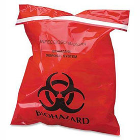 Red Stick-On Biohazard Waste Bags
