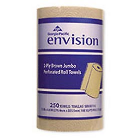 Envision® Perforated 2-Ply Paper Towel Roll, Recycled, Brown, 12 Rolls/Carton