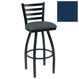"4 Slat-Back Swivel Bar Stool 17-1/2""W X 16""D X 43""H Slate Blue Package Count 2 by"
