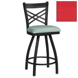 "Criss-Cross Back Swivel Bar Stool 17-1/2""W X 17""D X 45""H - Red - Pkg Qty 2"