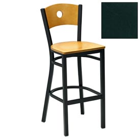"Mahogany Circle-Back Bar Stool 17-1/2""W X 17""D X 42""H - Hunter Green - Pkg Qty 2"