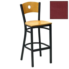 "Natural Circle-Back Bar Stool 17-1/2""W X 17""D X 42""H - Burgundy - Pkg Qty 2"