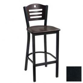 "Cherry 3 Slat-Back Bar Stool 17-1/2""W X 16""D X 42""H - Black - Pkg Qty 2"
