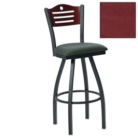 "Mahogany 3 Slat-Back Swivel Bar Stool 17-1/2""W X 17""D X 42""H - Burgundy - Pkg Qty 2"