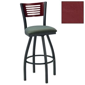 "Cherry 5 Slat-Back Swivel Bar Stool 17-1/2""W X 17""D X 42""H - Burgundy - Pkg Qty 2"