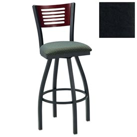 "Mahogany 5 Slat-Back Swivel Bar Stool 17-1/2""W X 17""D X 42""H - Black - Pkg Qty 2"