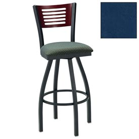 "Natural 5 Slat-Back Swivel Bar Stool 17-1/2""W X 17""D X 42""H - Slate Blue - Pkg Qty 2"